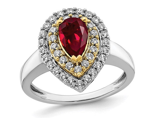1.00 Carat (ctw) Lab-Created Ruby Teardrop Ring in 14K White Gold with Lab-Grown Diamonds