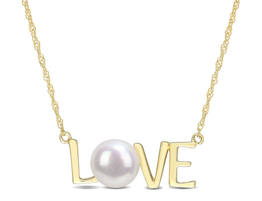 7-7.5MM Freshwater Cultured Pearl LOVE Pendant Necklace in10K Yellow Gold with Chain