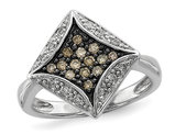 1/3 Carat (ctw) Champagne Diamond Geometric Ring in Sterling Silver