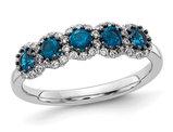 3/4 Carat (ctw) Blue & White Diamond Ring in 14K White Gold