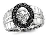 Men's Black Diamond 2/5 Carat (ctw) Polished Skull Ring in Sterling Silver