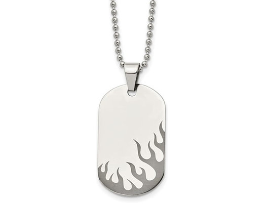 Mens Stainless Steel Flaming Dogtag Pendant Necklace with Chain