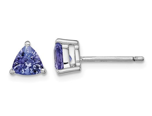 1.00 Carat (ctw) Trillian Tanzanite Solitaire Stud Earrings in Sterling Silver