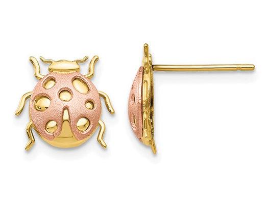 14K Yellow and PInk Gold Ladybug Charm Post Earrings