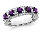 2/5 Carat (ctw) Purple Amethyst Band Ring in 14K White Gold with Diamonds 1/3 carat (ctw)