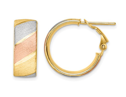 14K White, Yellow and Pink Gold Brushed Hoop Huggie Earrings
