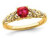 1/2 Carat (ctw) Cushion-Cut Ruby Ring in 14K Yellow Gold