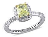 1 1/3 Carat (ctw G-H-I, SI1-SI2) Yellow Diamond Halo Engagement Ring in 14K White Gold