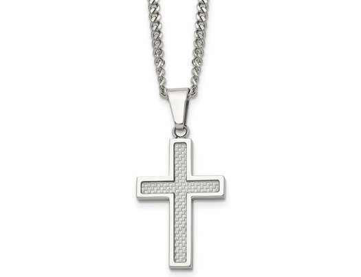 Mens Stainless Steel Cross Pendant Necklace with Chain (20 Inches)