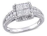 1.00 Carat (ctw H-I, I2-I3) Princess-Cut Diamond Engagement Ring in 10K White Gold