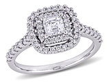 1.00 Carat (ctw G-H, SI1-SI2) Diamond Double Halo Engagement Ring in 14K White Gold