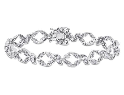 1/2 Carat (ctw I1-I2, H-I) Diamond & 3/8 Carat (ctw) White Sapphire Link Bracelet in 10K White Gold (7 Inches)