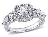4/5 Carat (ctw H-I, I2-I3) Diamond Double Halo Engagement Ring in 10K White Gold