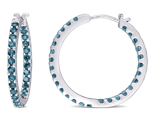2.80 Carat (ctw) London Blue Topaz In and Out Hoop Earrings in 10K White Gold