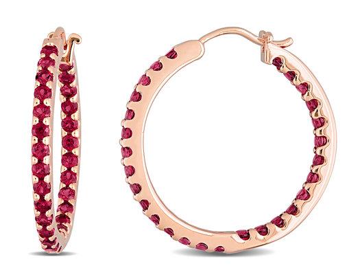 2.24 Carat (ctw) Garnet In and Out Hoop Earrings in 10K Rose Pink Gold