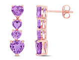 3.12 Carat (ctw) Amethyst Drop Heart Earrings in 10K Rose Pink Gold