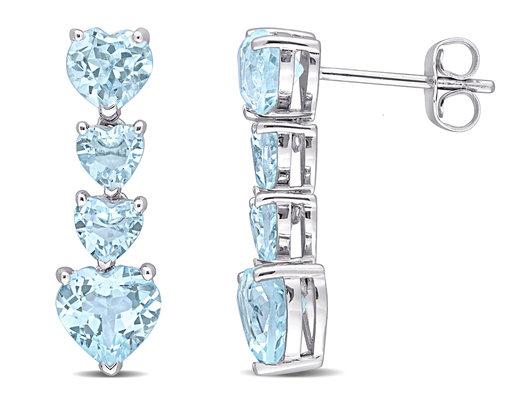 4.20 Carat (ctw) Sky Blue Topaz Drop Heart Earrings in 10K White Gold