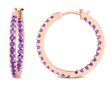 1.60 Carat (ctw) Amethyst In and Out Hoop Earrings in 10K Rose Pink Gold