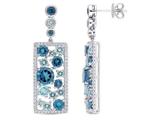 6.60 Carat (ctw) London & Sky Blue Topaz Drop Earrings in 14k White Gold with Diamondserling Silver