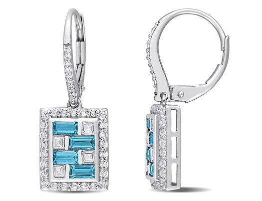 4.30 Carat (ctw) London Blue & White Topaz Drop Earrings in 14K White Gold with Diamonds