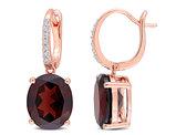 9.60 Carat (ctw) Garnet Drop Leverback Earrings in 14K Rose Pink Gold with Diamonds