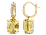 8.60 Carat (ctw) Citrine Drop Leverback Earrings in 14K Yellow Gold with Diamonds