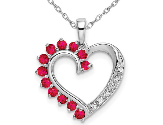3/5 Carat (ctw) Ruby Heart Pendant Necklace in 14K White Gold with Chain and Accend Diamonds