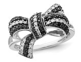 1/3 Carat (ctw) Black & White Diamond Bow Ring in Sterling Silver