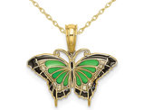 Green Butterfly Charm Pendant Necklace in 10K Yellow Gold with Chain