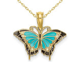 Aqua Butterfly Charm Pendant Necklace in 10K Yellow Gold with Chain