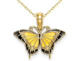 Yellow Butterfly Charm Pendant Necklace in 10K Yellow Gold with Chain