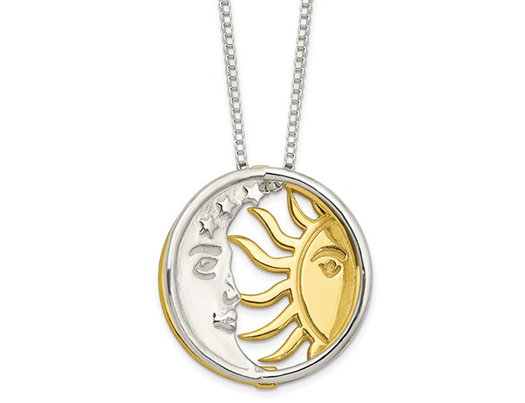 Polished Sun and Moon Charm Necklace in Yellow Plated Sterling Silver