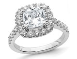 2.60 Carat (ctw) Cushion-Cut Synthetic Moissanite Halo Engagement Ring in 14K White Gold