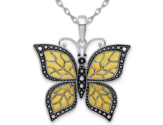 Yellow Butterfly Charm Pendant Necklace in Sterling Silver with Chain
