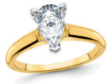 1.90 Carat (ctw Color D-E-F) Synthetic Pear-Cut Moissanite Solitaire Engagement Ring in 14K Yellow Gold