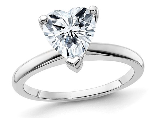 1.10 Carat (ctw Color D-E-F) Synthetic Heart-Cut Moissanite Solitaire Engagement Ring in 14K White Gold