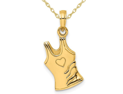 14K Yellow Gold Tank-Top Shirt Charm Pendant Necklace with Chain