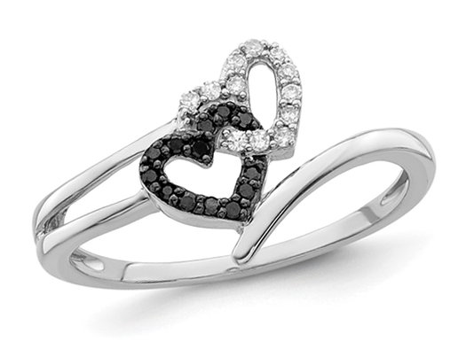 Black & White Diamond Accent Heart Promise Ring in Sterling Silver