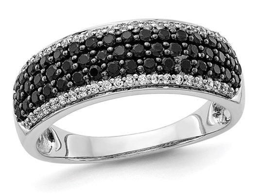 7/8 Carat (ctw) Black & White Diamond Ring in 14K White Gold