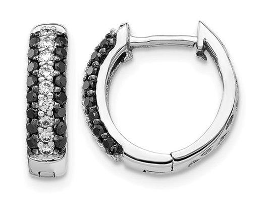 1/2 Carat (ctw) Black and White Diamond Hoop Earrings in 14K White Gold