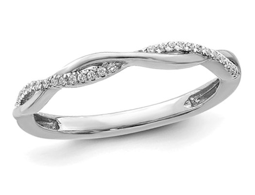 1/12 Carat (ctw) Diamond Wedding Ring Twist Band in 14K White Gold