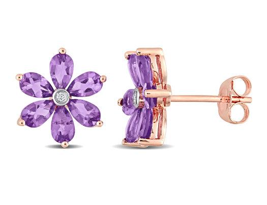 2.40 Carat (ctw) Amethyst Flower Button Earrings in 14K Rose Pink Gold