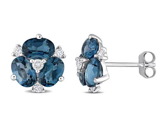 3.00 Carat (ctw) London Blue Topaz Flower Button Earrings in 14K White Gold with Diamonds
