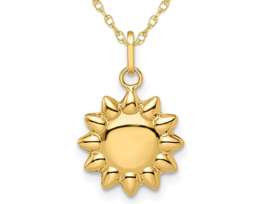 Polished Puffed Sun Charm Pendant Necklace in 14K Yellow Gold with Chain