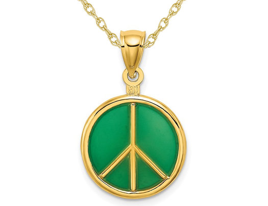 14K Yellow Gold Peace Sign Charm Pendant Necklace with Chain