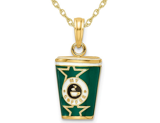 14K Yellow Gold Coffee Cup Charm Pendant Necklace with Chain