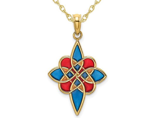 14K Yellow Gold Multi-Color Enameled Celtic Knot Charm Pendant Necklace with Chain
