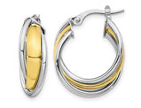 10K White and Yellow Gold Polished Hoop Huggy Earrings