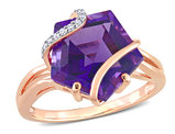 6.00 Carat (ctw) Amethyst Ring in Rose Plated Sterling Silver with Accent Diamonds