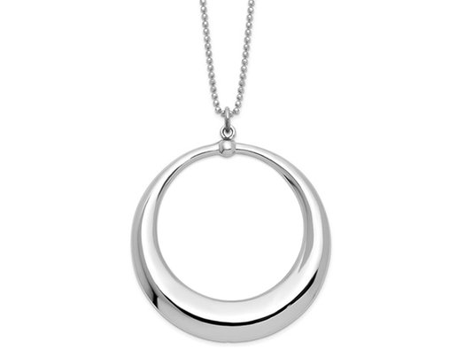 Sterling Silver Circle Dangle Pendant Necklace with Chain